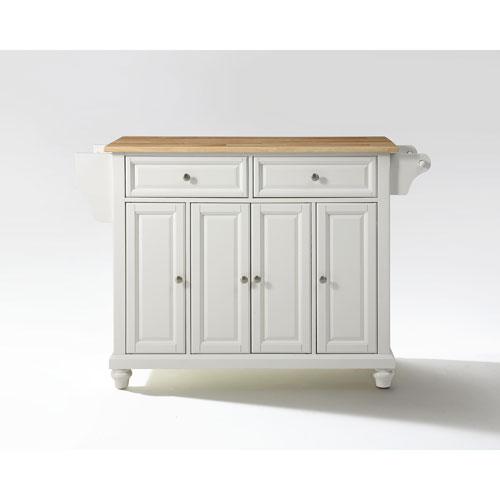 Crosley Furniture Cambridge Natural Wood Top Kitchen Island in White Finish
