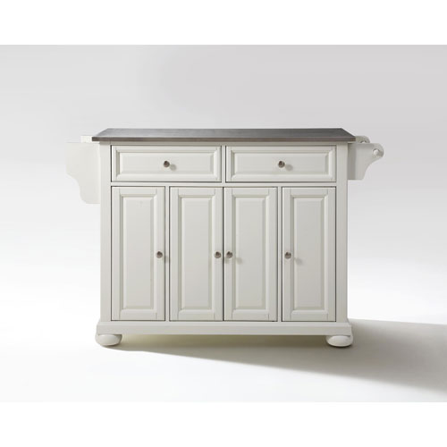 Crosley Furniture Alexandria Stainless Steel Top Kitchen Island in White Finish