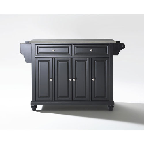 Crosley Furniture Cambridge Stainless Steel Top Kitchen Island in Black Finish