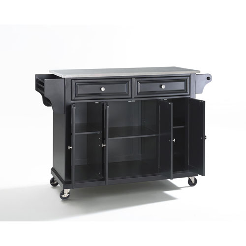 Stainless Steel Top Kitchen Cart/Island in Black Finish