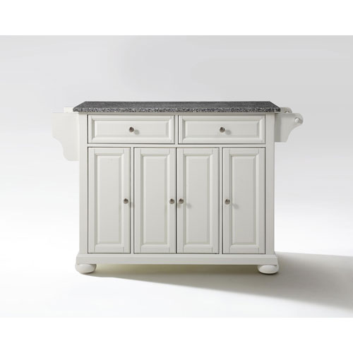 Crosley Furniture Alexandria Solid Granite Top Kitchen Island in White Finish