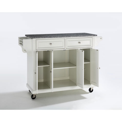 Solid Granite Top Kitchen Cart/Island in White Finish