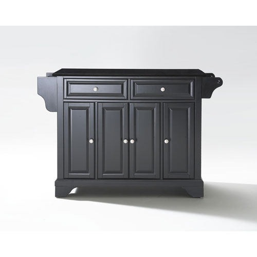 LaFayette Solid Black Granite Top Kitchen Island in Black Finish