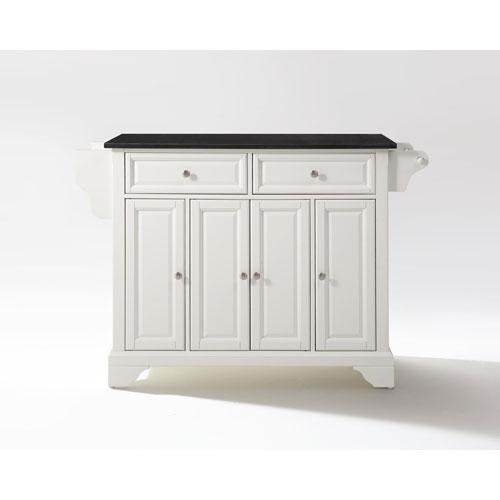 LaFayette Solid Black Granite Top Kitchen Island in White Finish