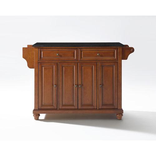 Crosley Furniture Cambridge Solid Black Granite Top Kitchen Island in Classic Cherry Finish