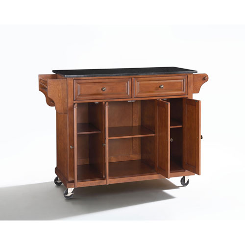 Solid Black Granite Top Kitchen Cart/Island in Classic Cherry Finish