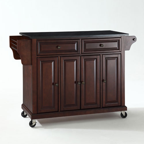 solid black granite top kitchen cartisland in vintage mahogany finish - Kitchen Carts