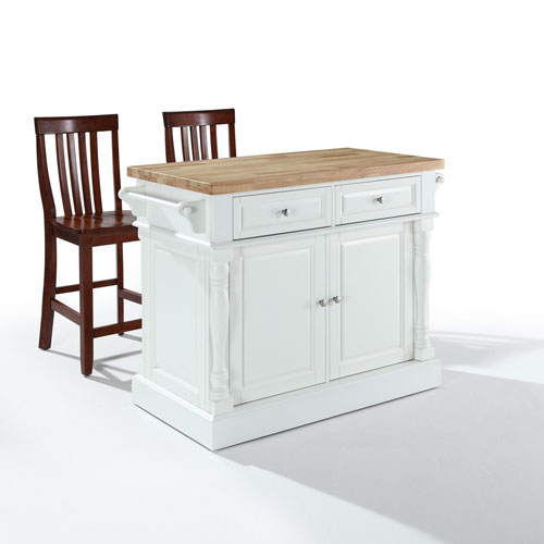 Crosley Furniture Butcher Block Top Kitchen Island in White Finish with 24-Inch Black School House Stools