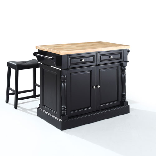 Crosley Furniture Butcher Block Top Kitchen Island in Black Finish with 24-Inch Black Upholstered Saddle Stools