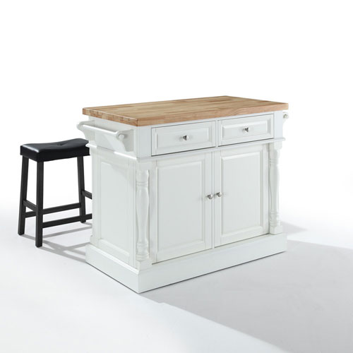 Crosley Furniture Butcher Block Top Kitchen Island in White Finish with 24-Inch Black Upholstered Saddle Stools
