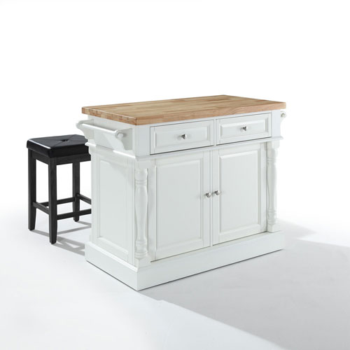 Butcher Block Top Kitchen Island in White Finish with 24-Inch Black Upholstered Square Seat Stools