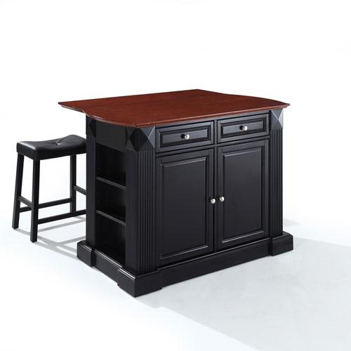 Crosley Furniture Drop Leaf Breakfast Bar Top Kitchen Island in Black Finish with 24-Inch Black Upholstered Saddle Stools