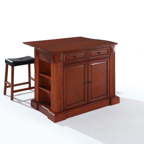 Crosley Furniture Drop Leaf Breakfast Bar Top Kitchen Island in Cherry Finish with 24-Inch Cherry Upholstered Saddle Stools