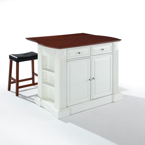 Crosley Furniture Drop Leaf Breakfast Bar Top Kitchen Island In White Finish With 24 Inch Cherry Upholstered Saddle Stools