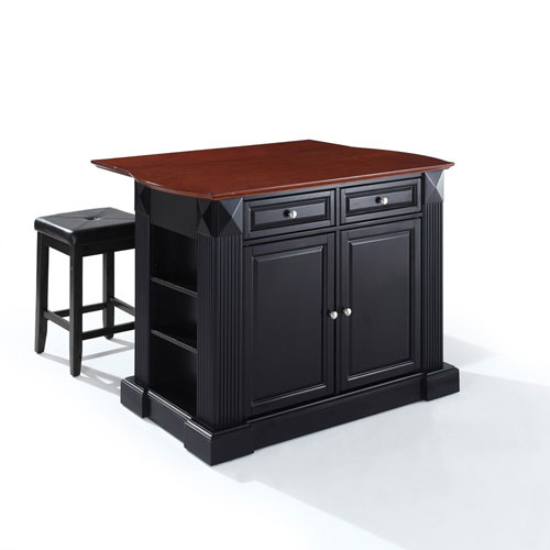 Drop Leaf Breakfast Bar Top Kitchen Island in Black Finish with 24-Inch Black Upholstered Square Seat Stools