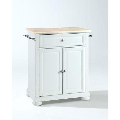 Crosley Furniture Alexandria Natural Wood Top Portable Kitchen Island in White Finish