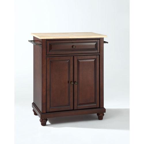 Crosley Furniture Cambridge Natural Wood Top Portable Kitchen Island in Vintage Mahogany Finish