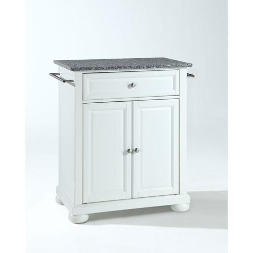 Crosley Furniture Alexandria Solid Granite Top Portable Kitchen Island in White Finish