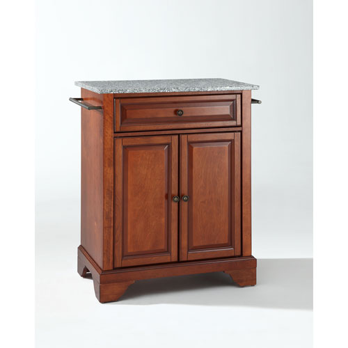 LaFayette Solid Granite Top Portable Kitchen Island in Classic Cherry Finish