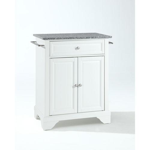LaFayette Solid Granite Top Portable Kitchen Island in White Finish