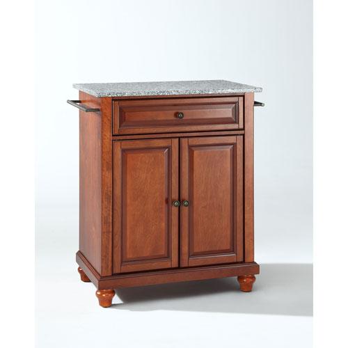 Crosley Furniture Cambridge Solid Granite Top Portable Kitchen Island in Classic Cherry Finish
