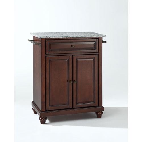 Crosley Furniture Cambridge Solid Granite Top Portable Kitchen Island in Vintage Mahogany Finish