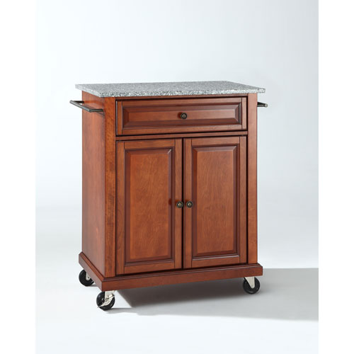 Solid Granite Top Portable Kitchen Cart/Island in Classic Cherry Finish
