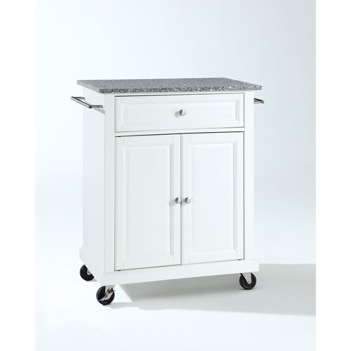 Solid Granite Top Portable Kitchen Cart/Island in White Finish