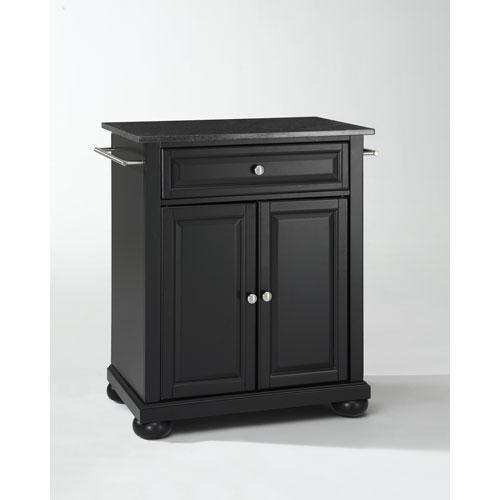 Alexandria Solid Black Granite Top Portable Kitchen Island in Black Finish