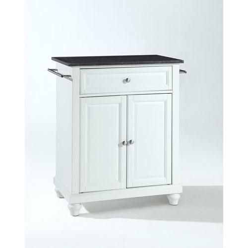 Crosley Furniture Cambridge Solid Black Granite Top Portable Kitchen Island in White Finish