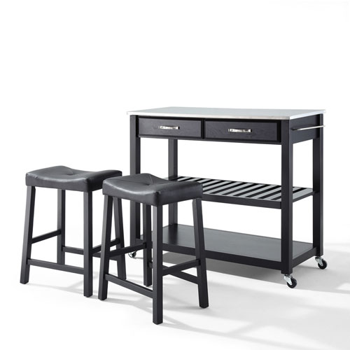 Stainless Steel Top Kitchen Cart/Island in Black Finish With 24-Inch Black Upholstered Saddle Stools