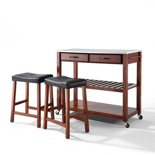 Stainless Steel Top Kitchen Cart/Island in Classic Cherry Finish With 24-Inch Cherry Upholstered Saddle Stools