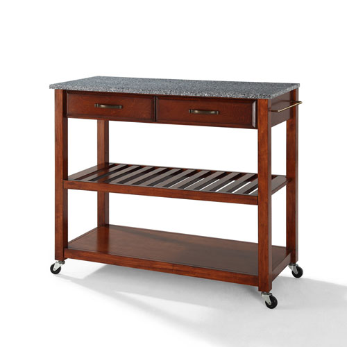 Solid Granite Top Kitchen Cart/Island With Optional Stool Storage in Classic Cherry Finish