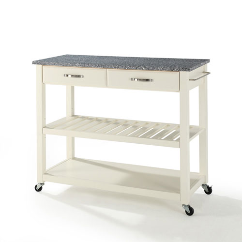 Solid Granite Top Kitchen Cart/Island With Optional Stool Storage in White Finish