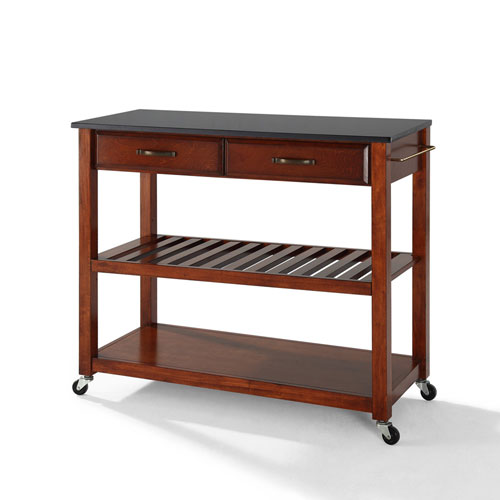 Crosley Furniture Solid Black Granite Top Kitchen Cart/Island With Optional Stool Storage in Classic Cherry Finish