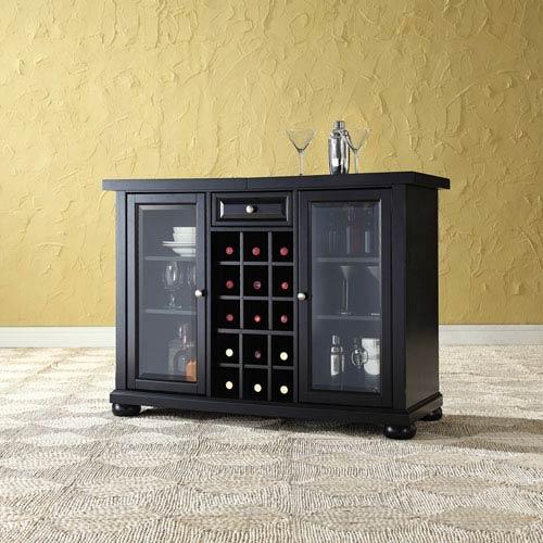 Crosley Furniture Alexandria Sliding Top Bar Cabinet in Black Finish