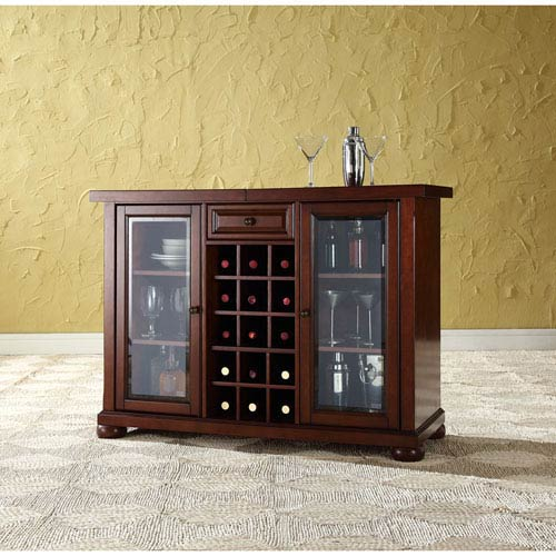 Crosley Furniture Alexandria Sliding Top Bar Cabinet In Vintage Mahogany Finish