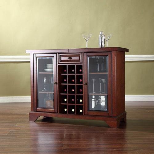 LaFayette Sliding Top Bar Cabinet in Vintage Mahogany Finish