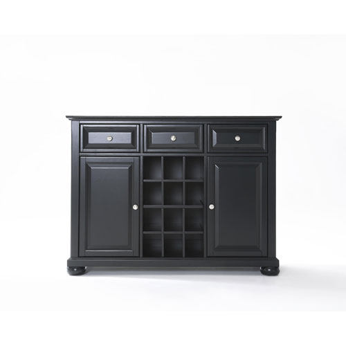 Crosley Furniture Alexandria Buffet Server / Sideboard Cabinet with Wine Storage in Black Finish