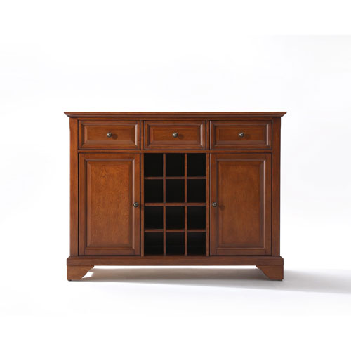 Crosley Furniture LaFayette Buffet Server / Sideboard Cabinet with Wine Storage in Classic Cherry Finish