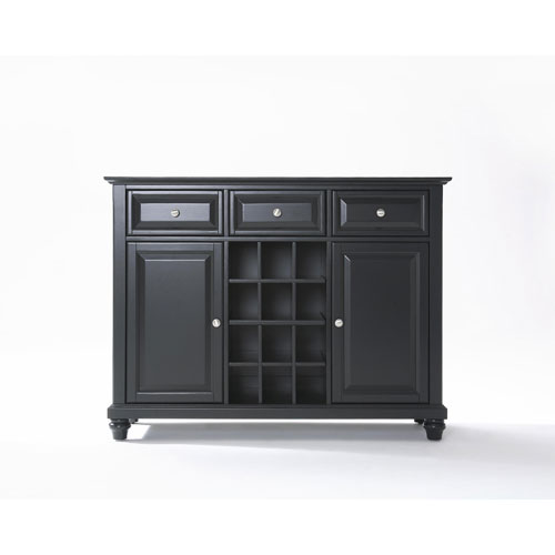 Crosley Furniture Cambridge Buffet Server / Sideboard Cabinet with Wine Storage in Black Finish
