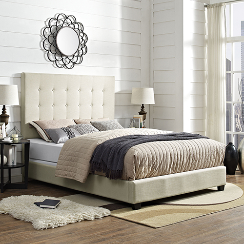 Reston Square Upholstered Queen Bedset in Creme Linen