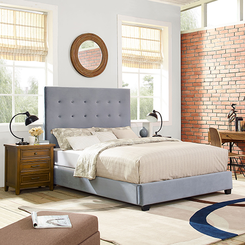 Reston Square Upholstered Queen Bedset in Shale Microfiber