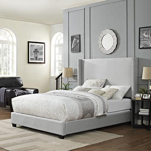 Casey Wingback Upholstered Queen Bedset in Dove Gray Linen