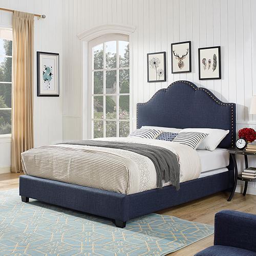 Preston Camelback Upholstered Queen Bedset in Navy Linen