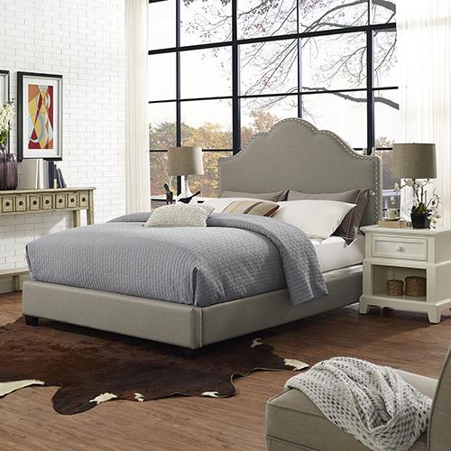 Preston Camelback Upholstered Queen Bedset in Shadow Gray Linen