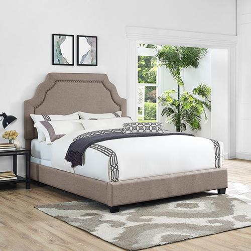 Loren Keystone Upholstered Queen Bedset in Oatmeal Linen