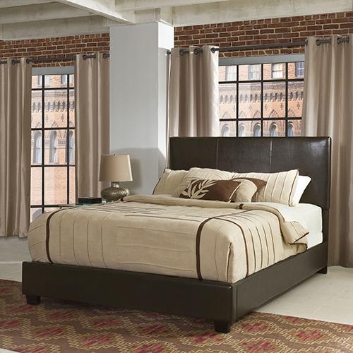 Crosley Furniture Drake King Bedset in Brown Leatherette