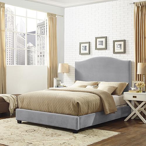 Crosley Furniture Bellingham Camelback Upholstered King Bedset in Shale Microfiber