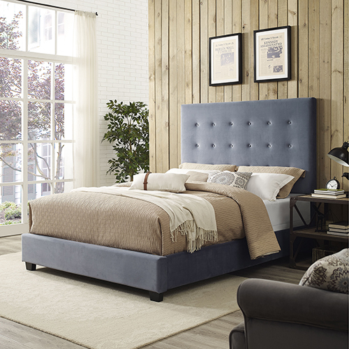 Reston Square Upholstered King Bedset in Cornflower Microfiber